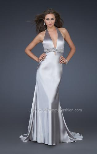 Picture of: Halter Neck Deep V Prom Gown with Beaded Belt and Train, Style: 14743, Main Picture