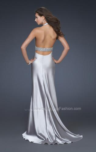 Picture of: Halter Neck Deep V Prom Gown with Beaded Belt and Train, Style: 14743, Back Picture