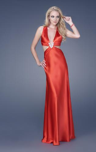 Picture of: Satin Deep V Gown with Cut Outs and Open Back, Style: 15037, Main Picture