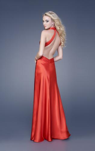 Picture of: Satin Deep V Gown with Cut Outs and Open Back, Style: 15037, Back Picture