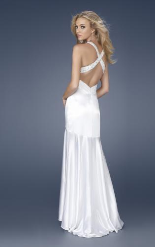 Picture of: Satin Long Mermaid Gown with Beaded Straps, Style: 15119, Back Picture
