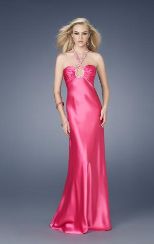 Picture of: Satin Dress with Intricate Beaded Neckline and Back, Style: 15121, Main Picture
