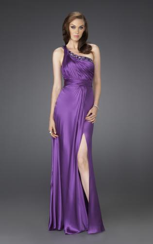 Picture of: One Shoulder Gown with Beading and Pleated Bodice, Style: 15158, Main Picture