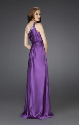 Picture of: One Shoulder Gown with Beading and Pleated Bodice, Style: 15158, Back Picture