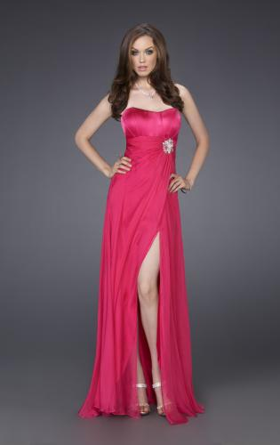 Picture of: Silk Prom Dress with Corset Bodice and Crystal Broach, Style: 15171, Main Picture