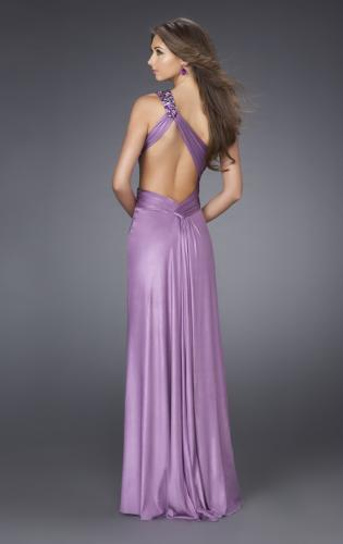 Picture of: Jersey One Shoulder Dress with Jeweled Strap and Slit, Style: 15172, Back Picture
