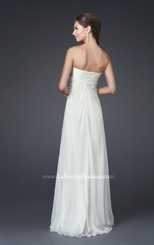 Picture of: Silk Gown with Beaded Empire Waist and Optional Slit, Style: 15174, Back Picture