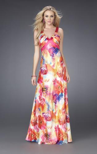 Picture of: Bright Floral Print Prom Gown with X Back, Style: 15178, Main Picture