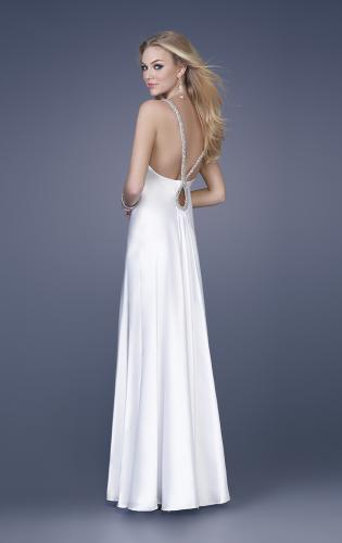 Picture of: Satin Dress with Beaded Straps and Low Beaded Back, Style: 15179, Main Picture