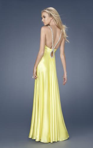 Picture of: Satin Dress with Beaded Straps and Low Beaded Back, Style: 15179, Back Picture