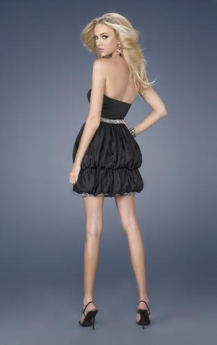 Picture of: Short Taffeta Dress with Double Bubble Hem, Style: 15230, Back Picture