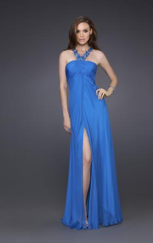 Picture of: Silk Gown with Beaded Straps, Ruching, and Open Back, Style: 15245, Main Picture