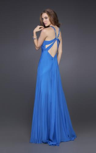 Picture of: Silk Gown with Beaded Straps, Ruching, and Open Back, Style: 15245, Back Picture