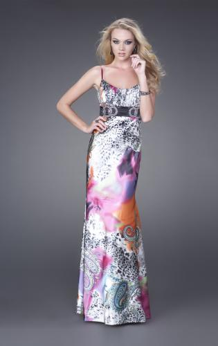 Picture of: Scoop Neck Satin Dress with Black Waist Band, Style: 15301, Main Picture