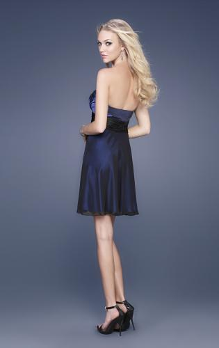 Picture of: Taffeta and Chiffon Short Gown with Beaded Broach, Style: 15506, Back Picture