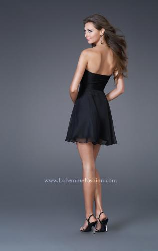 Picture of: Chic Strapless Chiffon Cocktail Dress with Broach, Style: 15851, Back Picture