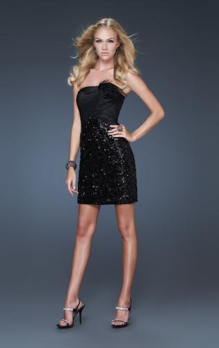 Picture of: Strapless Sequined Short Dress with Flower Accents, Style: 16047, Main Picture
