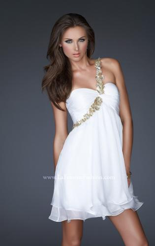 Picture of: Short Chiffon Cocktail Dress with Floral Strap Detail, Style: 16060, Main Picture