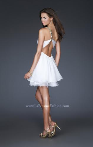 Picture of: Short Chiffon Cocktail Dress with Floral Strap Detail, Style: 16060, Back Picture