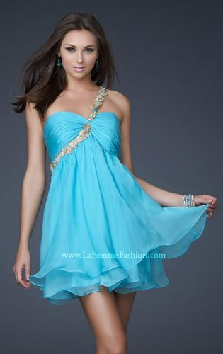 Picture of: Short Chiffon Cocktail Dress with Floral Strap Detail, Style: 16060, Detail Picture 1