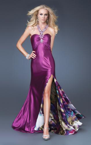 Picture of: Satin A-line Dress with Beaded Halter Straps and Train, Style: 16110, Main Picture
