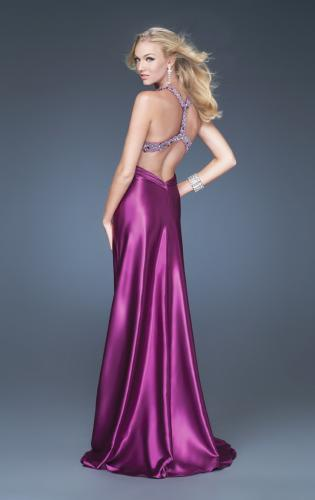 Picture of: Satin A-line Dress with Beaded Halter Straps and Train, Style: 16110, Back Picture