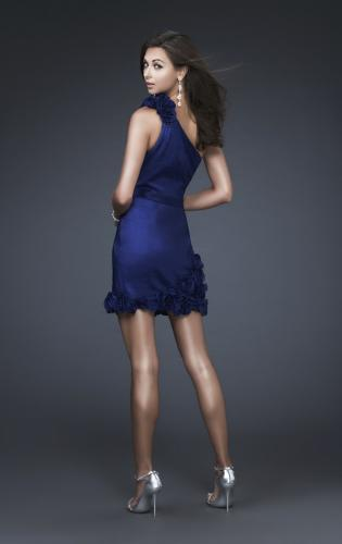 Picture of: Floral Embellished One Shoulder Short Dress, Style: 16155, Back Picture