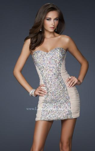 Picture of: Strapless Short Cocktail Dress with Jeweled Front, Style: 16368, Detail Picture 1