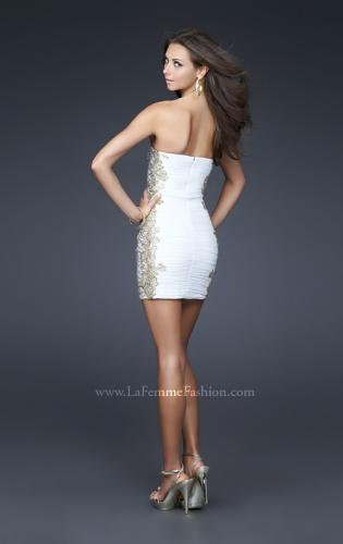 Picture of: Strapless Ruched Net Dress with Flower Detail, Style: 16503, Back Picture