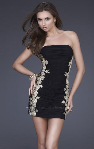 Picture of: Strapless Ruched Net Dress with Flower Detail, Style: 16503, Detail Picture 1