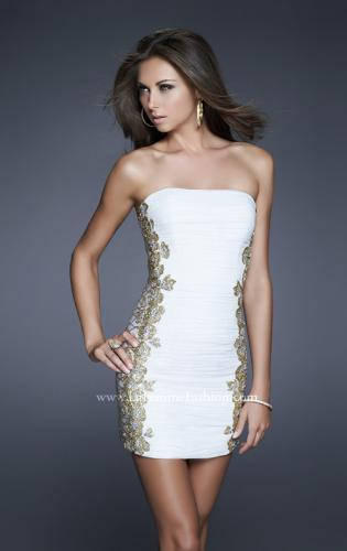 Picture of: Strapless Ruched Net Dress with Flower Detail, Style: 16503, Detail Picture 2