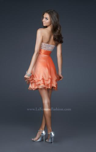Picture of: Short Chiffon Prom Dress with Jewel Embellished Top, Style: 16541, Back Picture