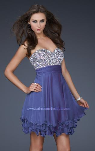 Picture of: Short Chiffon Prom Dress with Jewel Embellished Top, Style: 16541, Detail Picture 1