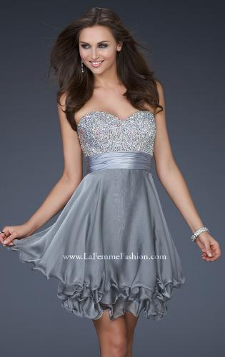 Picture of: Short Chiffon Prom Dress with Jewel Embellished Top, Style: 16541, Detail Picture 2