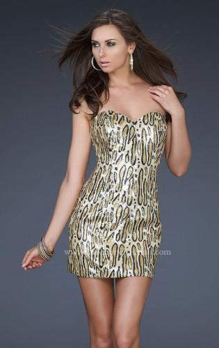 Picture of: Leopard Print Strapless Dress with Sequins, Style: 16796, Main Picture