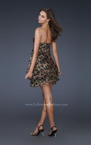 Picture of: Chiffon Cheetah Print Cocktail Dress with Strapless Top, Style: 16865, Back Picture