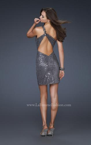 Picture of: Sequin Cocktail Dress with One Shoulder Flower Design, Style: 16886, Back Picture