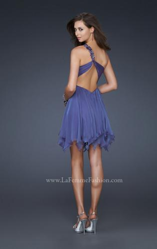 Picture of: One Shoulder Short Dress with Pleated Top and Open Back, Style: 16903, Back Picture