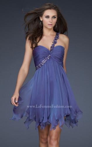 Picture of: One Shoulder Short Dress with Pleated Top and Open Back, Style: 16903, Detail Picture 1