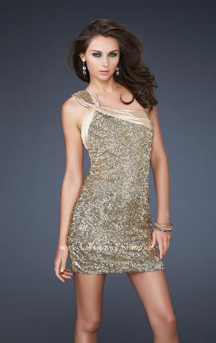Picture of: Textured Sequin Short Dress with Pleated Lace and Beads, Style: 16905, Detail Picture 1