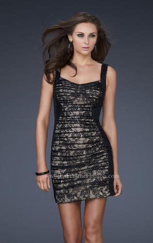 Picture of: Pleated Lace Cocktail Dress with Sequin Straps, Style: 16940, Main Picture