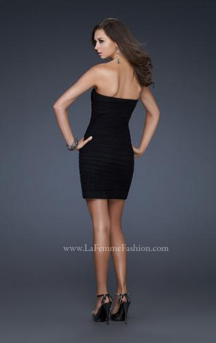 Picture of: Black Strapless Short Dress with Beaded Flower Design, Style: 16944, Back Picture