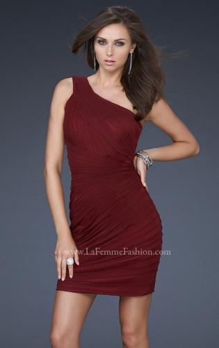 Picture of: One Shoulder Strap Cocktail Dress with Pleated Detail, Style: 16950, Detail Picture 1