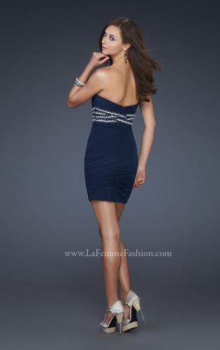 Picture of: Strapless Short Dress with Empire Waist and Beading, Style: 16956, Back Picture