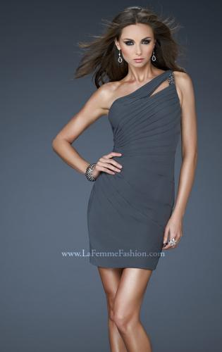 Picture of: Short Net Dress with Beaded One Shoulder Strap, Style: 16958, Main Picture