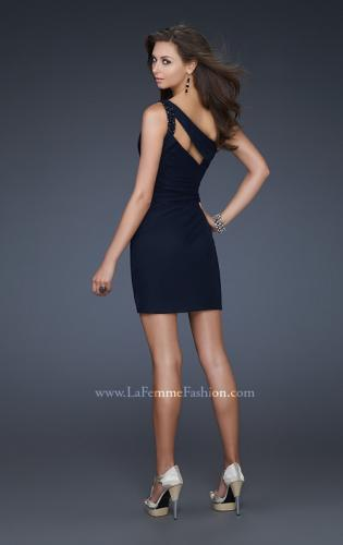 Picture of: Short Net Dress with Beaded One Shoulder Strap, Style: 16958, Back Picture