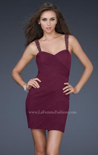 Picture of: Gathered Net Short Dress with Beaded Straps, Style: 16966, Main Picture