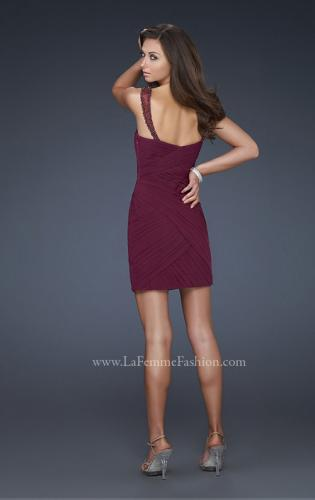 Picture of: Gathered Net Short Dress with Beaded Straps, Style: 16966, Back Picture