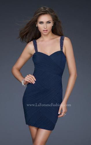 Picture of: Gathered Net Short Dress with Beaded Straps, Style: 16966, Detail Picture 1