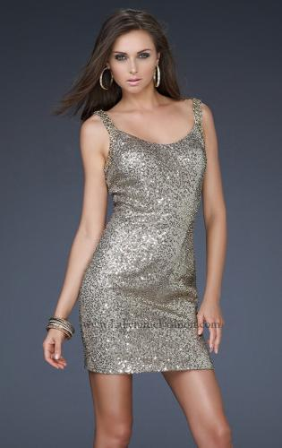 Picture of: Sequin Cocktail Dress with Beaded Double Straps, Style: 16971, Back Picture